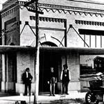 Vintage shot of the First State Bank, robbed by Raymond Hamilton.