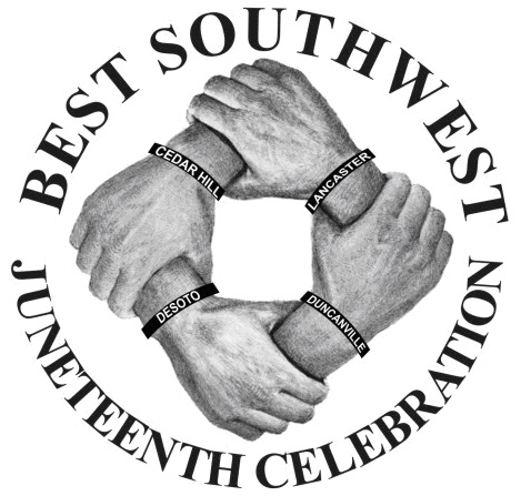 Logo for Best Southwest Juneteenth Celebration, featuring 4 hands, making a square by grabbing the a