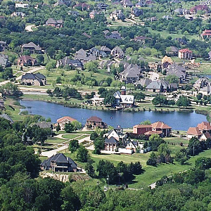 Lake Ridge Neighborhood pictured from atop a hill, looking down at the community.
