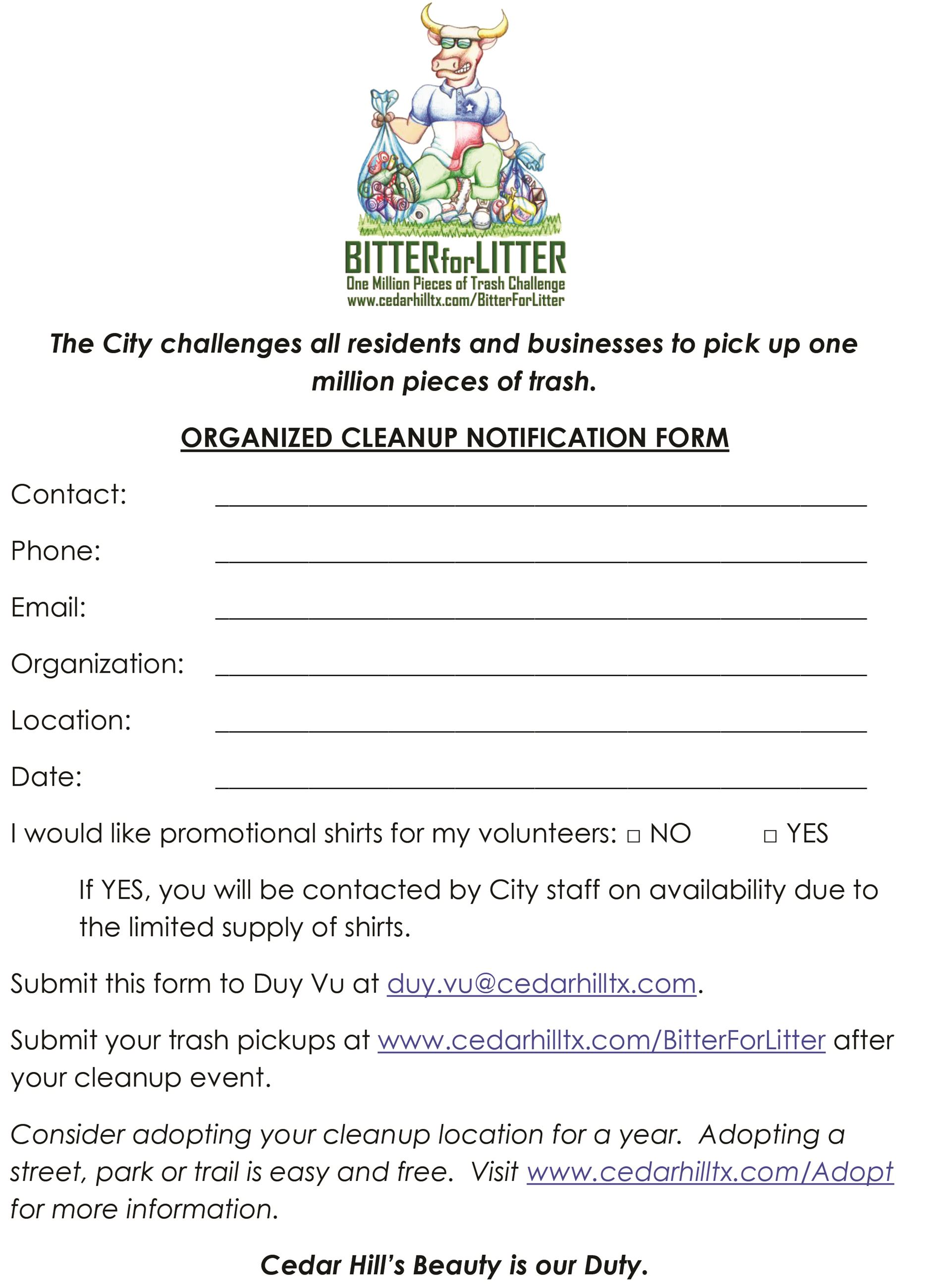 Bitter for Litter GROUP SIGNUP